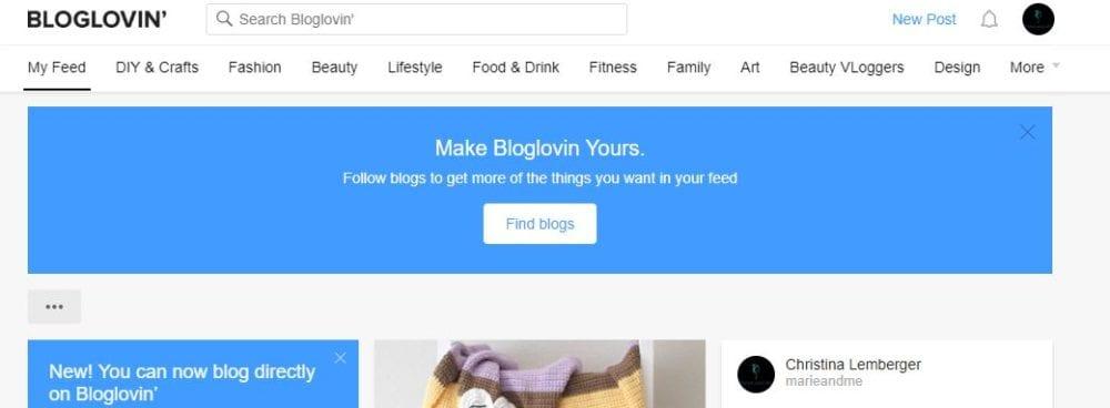 Bloglovin Startseite